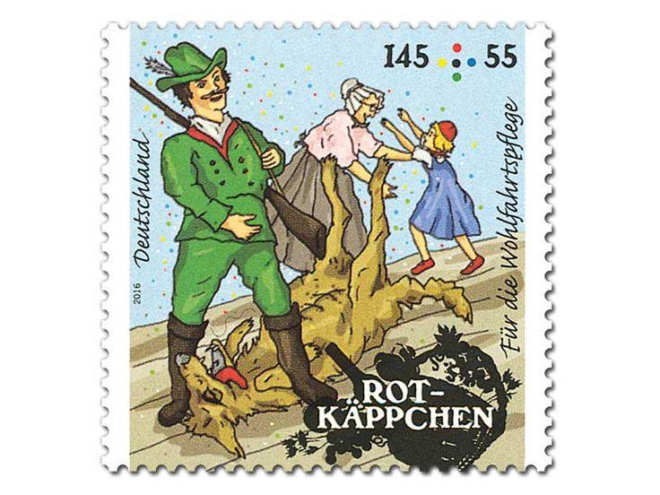 """Bild Briefmarke """"Rotkäppchen - Gutes Ende"""" aus der Serie Wohlfahrt, 145+55 ct"""