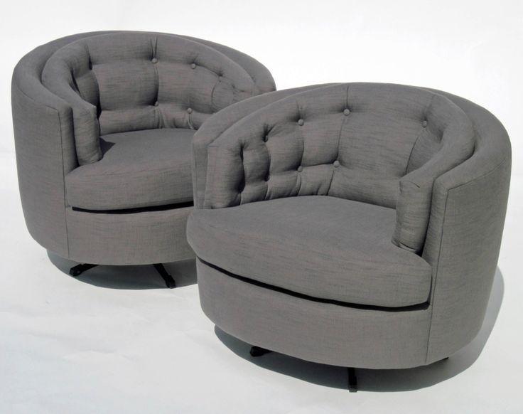 Milo Baughman Barrel Swivel Chairs