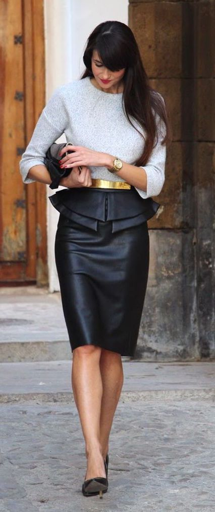 Dove Grey Sweater, Black leather, Gold belted, Skirt.