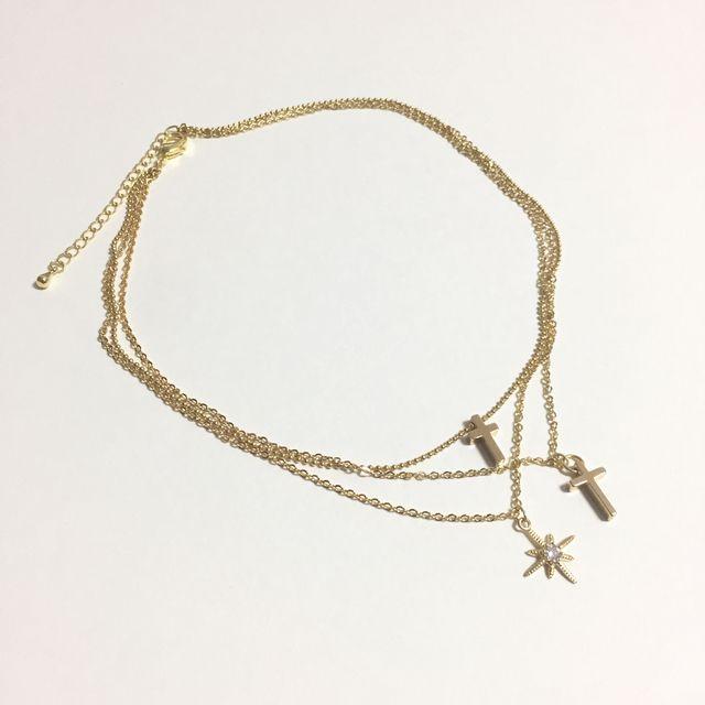 2つの祈りとベツレヘムの星:3連ネックレス