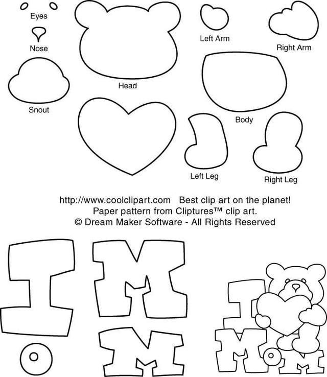 Mother's Day and Father's Day Free Scrapbook Patterns: Mother's Day I Love Mom Teddy Bear Free Paper Piecing Pattern