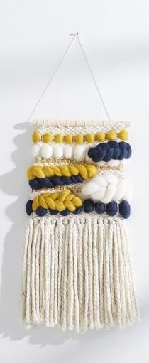 Navy, Yellow, and Gold Woven Wall Hanging. This is beautiful!