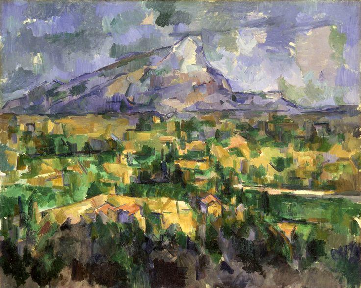 """""""Monte Sainte-Victoire"""", de Paul Cézanne Em suas obras, a montanha era vista sob os mais distintos pontos de observação e o contorno peculiar do maciço rochoso contrastava com a vegetação verdejante e os tons de terra dos arredores.  A perspectiva da obra foi distorcida por Cézanne, com o objetivo de atingir a relação perfeita entre os diversos elementos. A posição central do topo da montanha garante uma composição harmoniosa e equilibrada."""