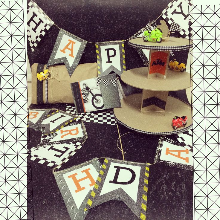 Kit decoración de cumpleaños · motos· decoración para fiesta·