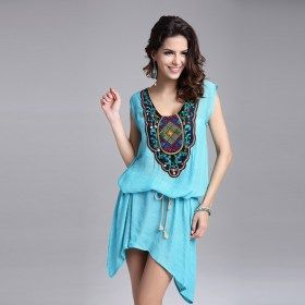 Embroidery Neck Vintage Sleeveless Casual Sexy Beach Mini  Dress