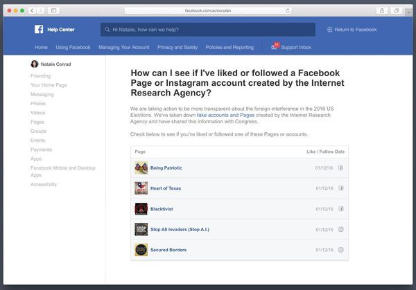 Facebook Inc. will show people which Russian propaganda pages or accounts they've followed and liked on the social network, responding to a request from Congress to address manipulation and meddling during the 2016 presidential election.