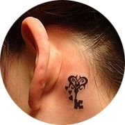Small Key Tattoo Design: Behind Ear Below