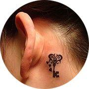 Small Key Tattoo Design: Behind Ear Below