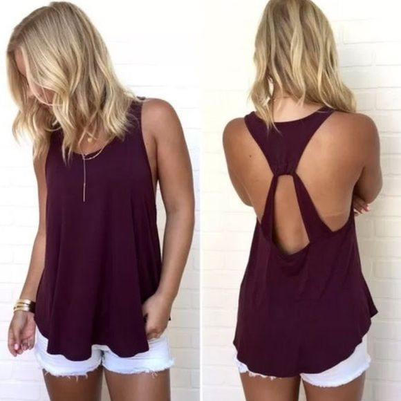 """HP 6/15/16Open Back Tank Tops Loose fitting tank tops. Unlined & thin material. Cotton/poly blend. Cute, open back. Fits a little big for size. Adorable over a bandeau / bralette.  Flat measurements: S: 16"""" armpits across / 15.5"""" length M: 17"""" armpits across / 16"""" length  Please ask questions prior to purchasing.  • no trades • bundles get 10-15% off ⭐️firm price⭐️ Lilacs & Lace Tops Tank Tops"""