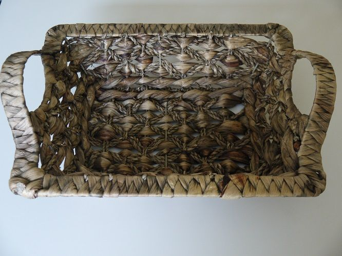 Square Woven Basket with Handles. Wedding tableware and decorations available to hire in Kent, UK. Please seewww.picketfencewe... for further information and prices.