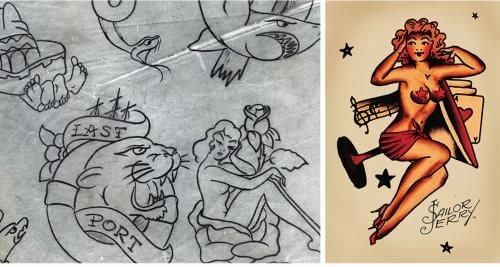View the incredible tattoo designs flash book & gallery displaying some of our favourite original pieces of Norman 'Sailor Jerry' Collins' flash art