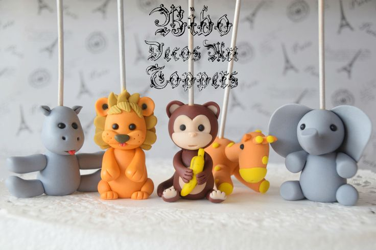 Edible 3D Safari Jungle Animals Cakes Decoration Fondant Toppers , Birthday Cake Toppers by BiboDecosArtToppers on Etsy