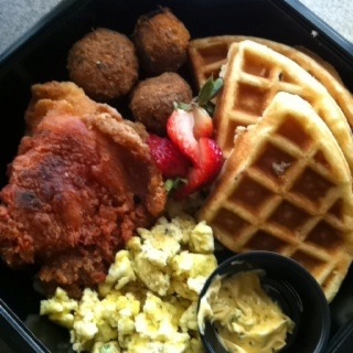 Bacon infused Waffles, Fried Chicken, Salmon Croquette Balls, Eggs, and Jalapeño  Butter