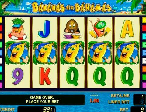 Играть на деньги на автомате Bananas Go Bahamas Посетите Багамы с необычной компанией, вашими напарниками в игре на деньги будут бананы, кокосы, клубничка и другие фрукты. Интересный игровой автомат Bananas Go Bahamas от компании Novomatic порадует гемблеров казино Вулкан присутст�