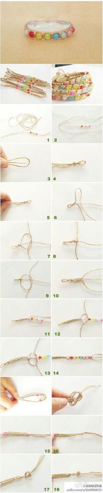 手工麻绳彩珠手链,动手给自己编一条吧~☑推荐关注@DIY女皇 - 堆糖 发现生活_收集美好_分享图片
