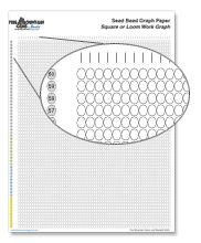 Printable seed bead graph paper from Fire Mountain Gems. Includes graph paper for square or loom work, peyote, 2-drop peyote, right angle weave (1x1), right angle weave (3x3), and brick stitch.