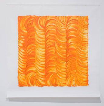 Noel Ivanoff, Levigation - orange I, 2009, Raw pigment and acrylic binder on dacron  1400 x 1400 mm