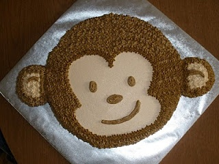 Baby Monkey Smash Cake - one for Morgan with a little yellow or pink flower, and a slightly larger one for Steven!