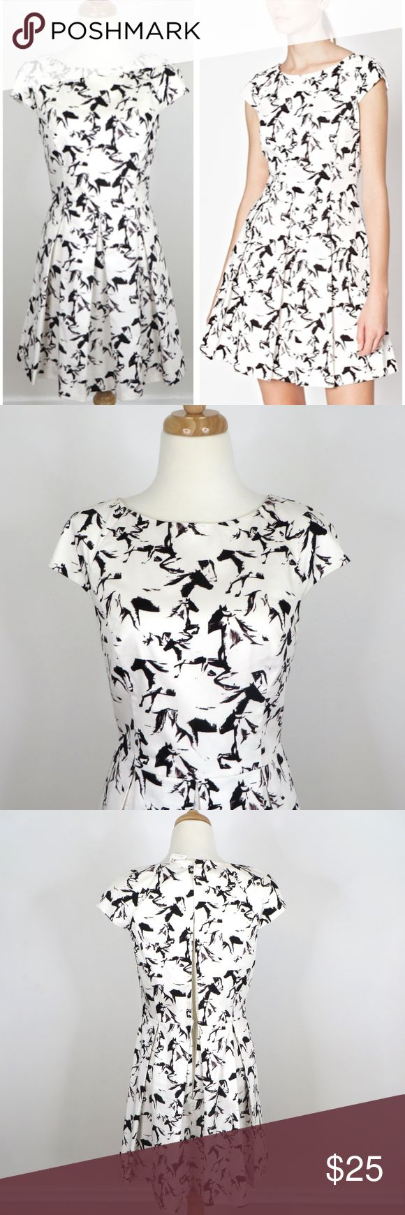 "$178 FRENCH CONNECTION New with reticket tags from Bloomingdale's but  *** NO ZIPPER ***  No zipper whatever / broken zipper.   Style name: Hatched Horses.  Black and white horse print, fit and flare silhouette, cap sleeves, pleated skirt portion, cotton blend.  Approximately 17"" across armpit seam to armpit seam and 34"" long.   Retails for $178.  Automatically reduce price 20% for 3+ bundles. French Connection Dresses Mini"