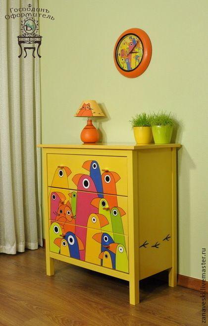"""Комод «Сrazy cat"""" - желтый,оранжевый,попугаи,кот,кошка,спальня,гостинная"""