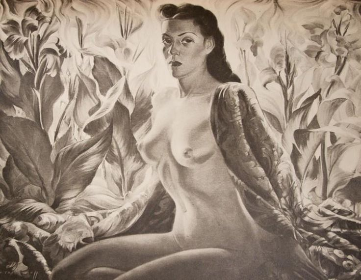 """Lady of the Tropics, c 1943-44, here """"Lenka"""" painted in the nude against a backdrop of red cannas, portraying the spirit of the exotic Orient where colourful flowers and seductive charms live in a 'lotus land' of brilliant sun and extravagant vegetation. Leonora Moltema (nicknamed Lenka) a Eurasian beauty, half Dutch, half Indonesian became Tretchikoff's lover, mistress and muse, she also posed for the famous Lenka (Red Jacket), Javanese Half-Caste, and the lost Civilised Bali destroyed in…"""