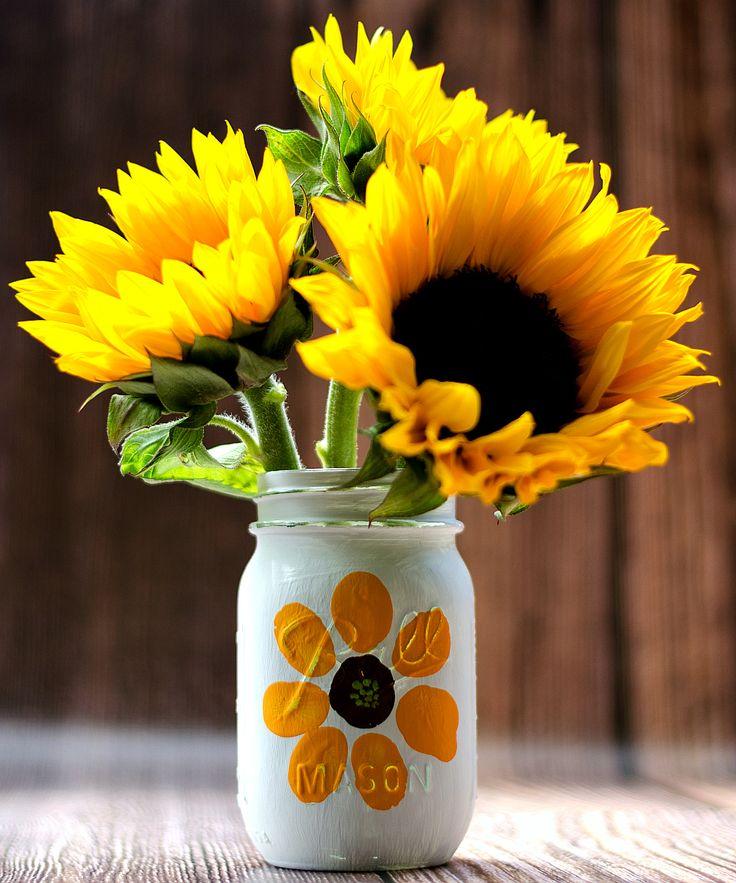 Thumbprint Flower Mason Jar | Mason Jar Crafts Love