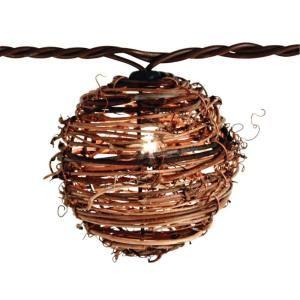 null 10 light clear natural rattan ball string light set. Black Bedroom Furniture Sets. Home Design Ideas