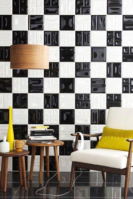 Glossy tiles. Black#white#random color