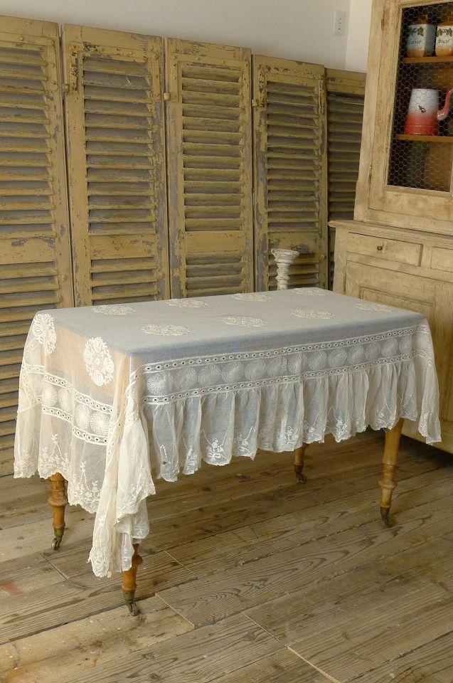 アンティーク チュールレースのテーブルクロス  French antique tulle lace table cover