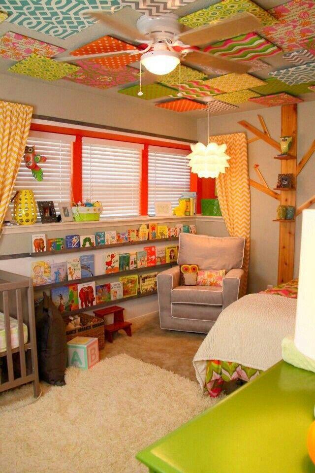 Awesome nursery <3 shelves and celing