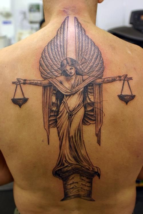 Angel and scales tattoo - 60 Holy Angel Tattoo Designs  <3 !