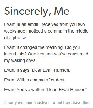 """omg omg omg // *sings """"dear evan hansen"""" to the tune of """"dear theodosia""""* (and for FUCKS SAKE when i say that i KNOW the original post is """"take a break"""" jesus christ)"""