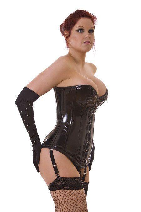 "BURLESKA long line pvc corset - size 26"""