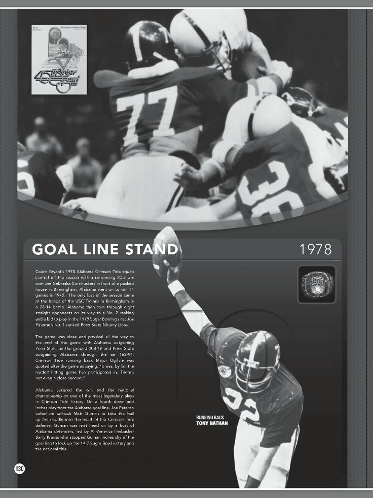 "Alabama's famous ""Goal Line Stand"" helps win the 1978 National Championship - from the 2016 Alabama Football Media Guide #Alabama #RollTide #BuiltByBama #Bama #BamaNation #CrimsonTide #RTR #Tide #RammerJammer #2016AlabamaFootballMediaGuide"