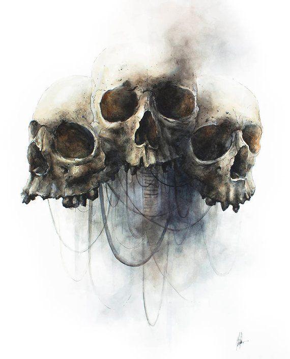 Three Skulls Print Etsy Skulls Drawing Skull Artwork Skull Art