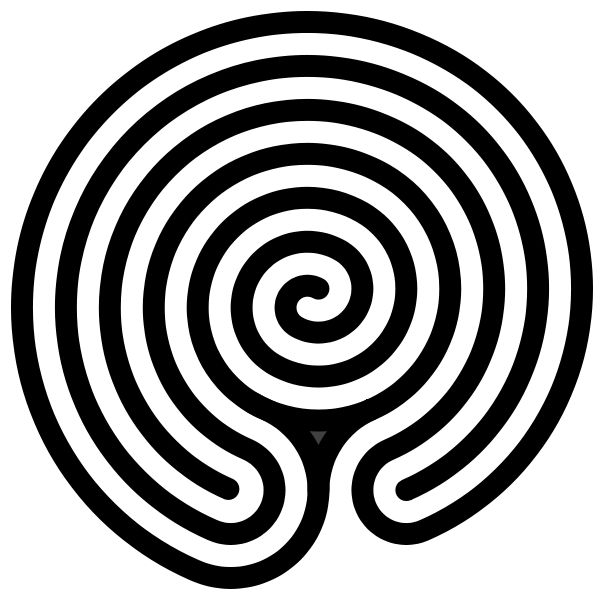 "Hindu or Indian form of labyrinth with a spiral in its center, sometimes associated with the epic Sanskrit terms ""Chakravyuha"" or ""Padmavyuha""  from: commons.wikimedia.org/wiki/File:Chakravyuha-labyrinth-alternate.svg"
