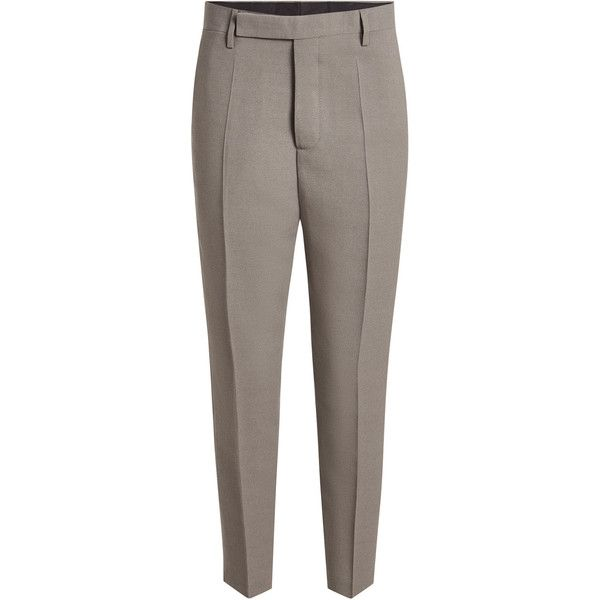 Rick Owens Cropped Tailored Pants (32,290 PHP) ❤ liked on Polyvore featuring pants, capris, grey, grey wool pants, cropped trousers, tailored trousers, drop-crotch pants and grey trousers