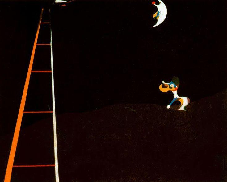 'Perro ladrando a la luna', Oil by Joan Miro (1893-1983, Spain)