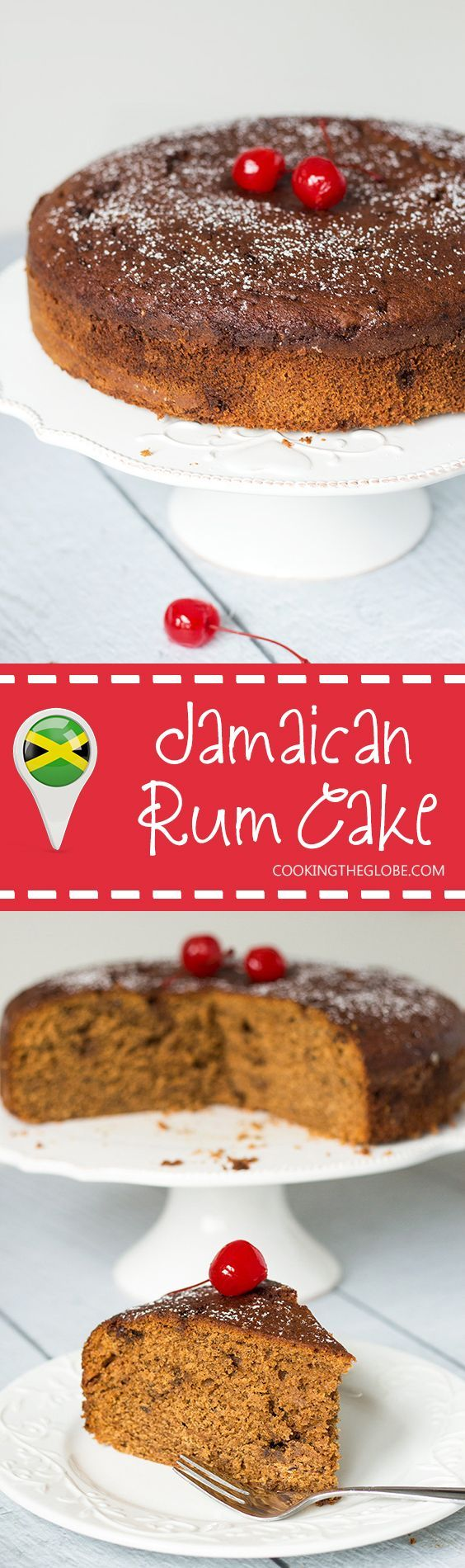 This Jamaican Rum Cake is dark, dense, and filled with rum-soaked dried fruit and Christmassy spices! | http://cookingtheglobe.com