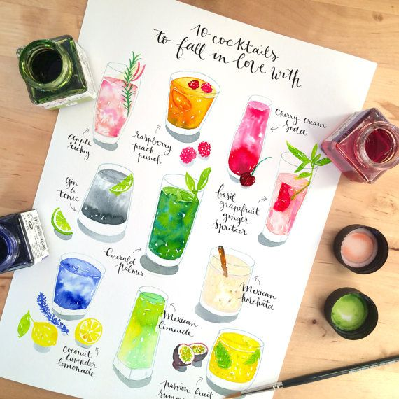 Cocktail Art Print - Watercolor cocktail illustration