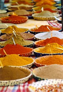 Bahārāt (Arabic: بهارات‎) is a spice mixture or blend used in Arab cuisine, especially in the Mashriq area, as well as in Turkish and Iranian cuisine. Bahārāt is the Arabic word for 'spices' (the plural form of bahār 'spice'). The mixture of finely ground spices is often used to season lamb, fish, chicken, beef, and soups and may be used as a condiment.