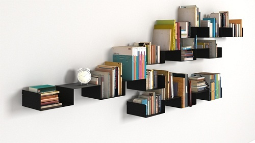 Minimalist design wall shelves for books