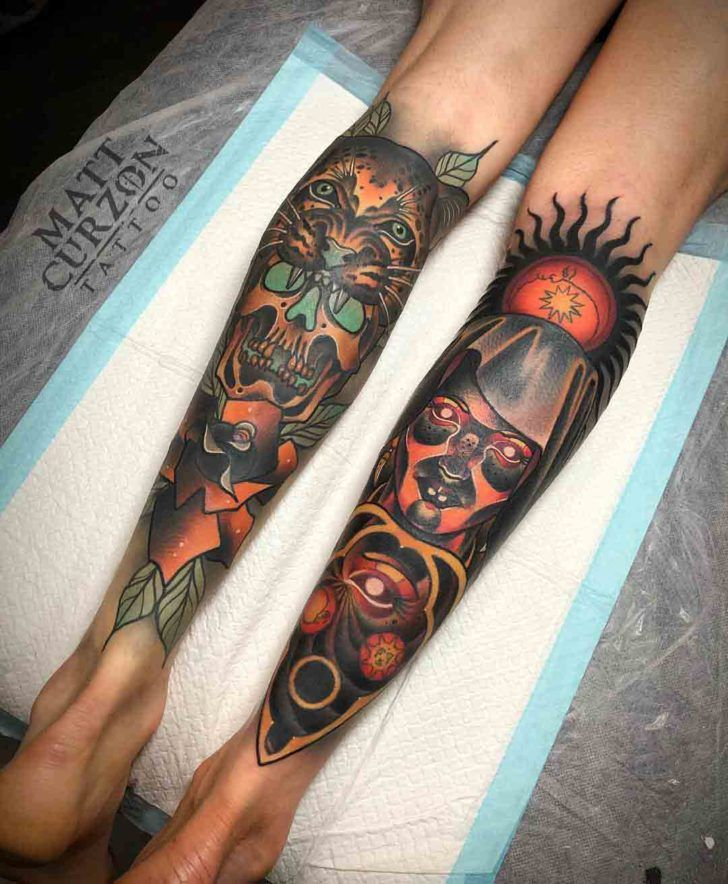 Neo Traditional Tattoos On Calf Best Tattoo Ideas Gallery Calf Tattoo Neo Traditional Tattoo Neo Traditional