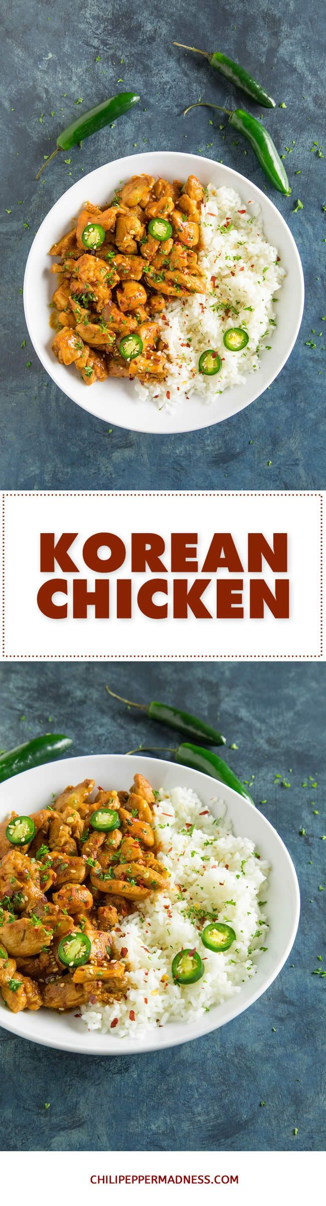 Korean Chicken - A quick and easy recipe for spicy Korean chicken made with gochujang, sriracha, soy sauce, spicy chili flakes and more. On the table fast! Perfect served over rice.  #chicken #koreanchicken #gochujang #recipe #recipeoftheday #recipeideas #recipesharing #chilipeppermadness #spicyfood #spicylife #delish #tasty #foodblogeats #dinner #spicy #recipes