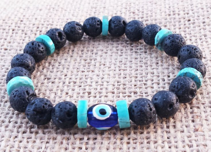 EVILEYE Bracelet Talisman Protection Good Luck Gifts Turquoise Black Lava Beaded Bracelet Unisex Bracelet Summer Holiday Bracelet