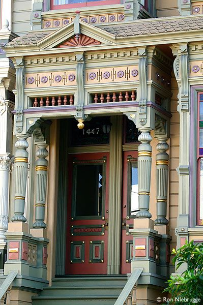 A peek at the entrance of a painted lady in San Francisco.  Replete with pastels like an old sweet carousel.