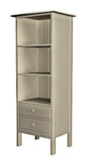 Beach House Furniture, Narrow Extra Tall Two Drawer Bookcase, Stone