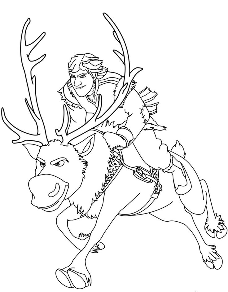 Sven Reindeer Coloring Pages Frozen Book