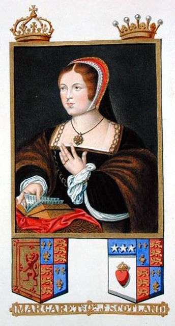 Margaret Tudor, Queen of Scotland, Sister of Henry VIII    Portrait of Margaret Tudor (1489-1541) Queen of Scotland from 'Memoirs of the Court of Queen Elizabeth' after a portrait by Daniel Mytens (c.1590-1642),