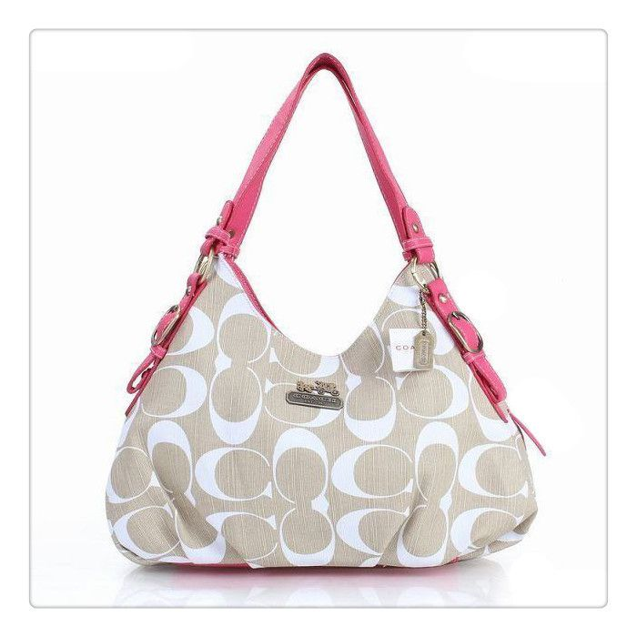 #coach #purses Please Enjoy Our High-Quality Coach Fashion Signature Medium Pink Ivory Shoulder Bags ERF With A Big